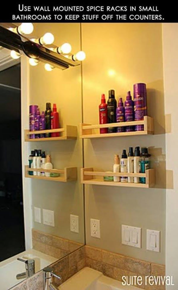 How to build  a bathroom organizer using a spice rack