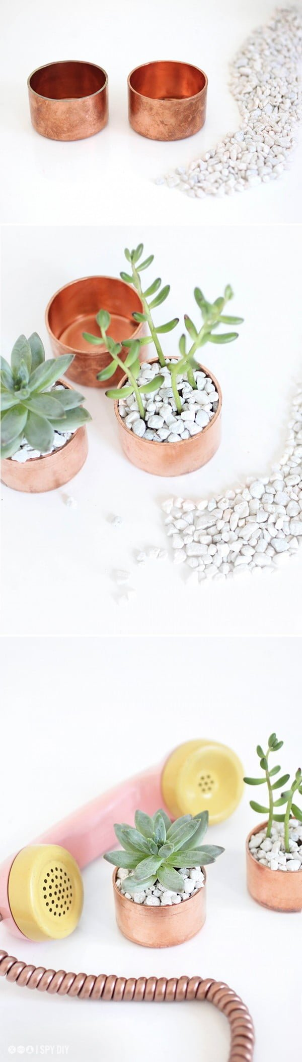 16 Trendy DIY Ideas to Decorate with Copper - Check out how to make these adorable DIY copper succulent planters