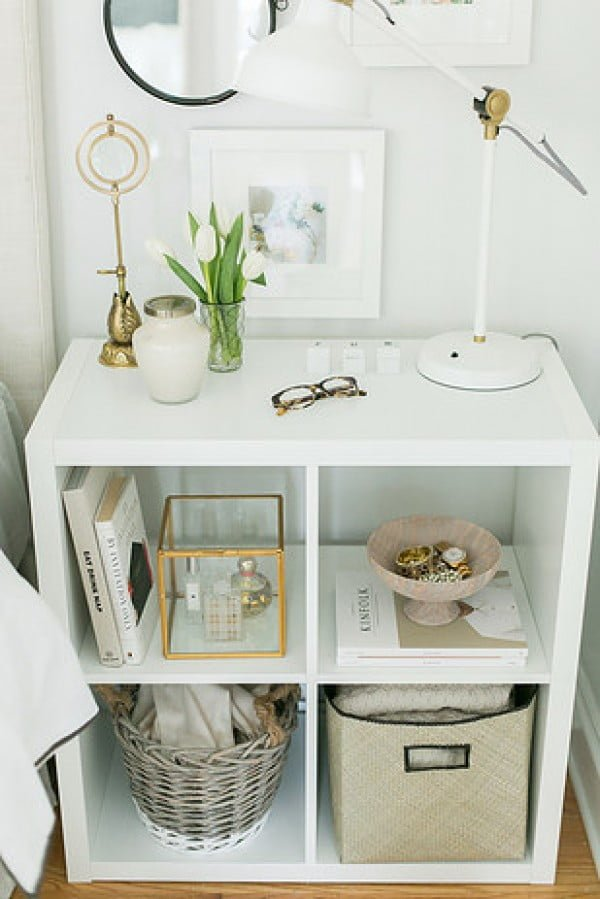Brilliant idea to use a small bookcase shelf as a nightstand for more storage