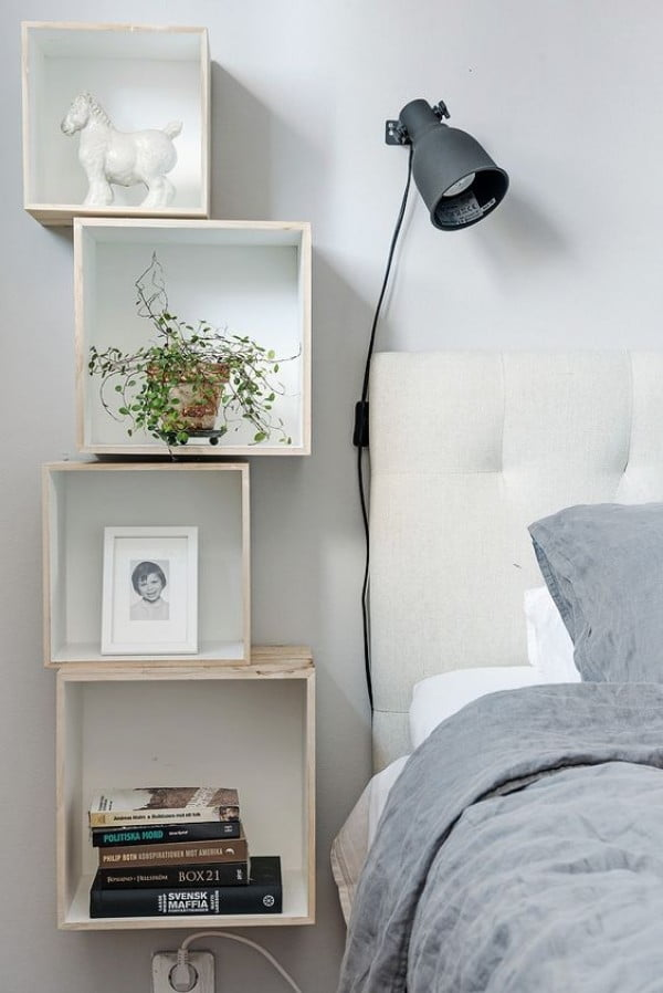 Love the nightstand styling made with box shelves