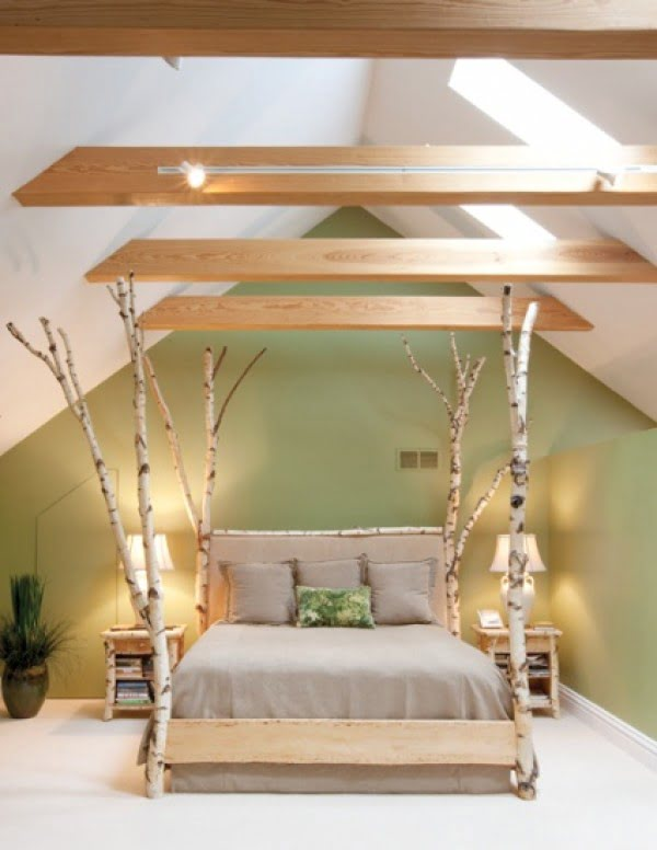 Love the use of birch tree branches in modern bedroom design