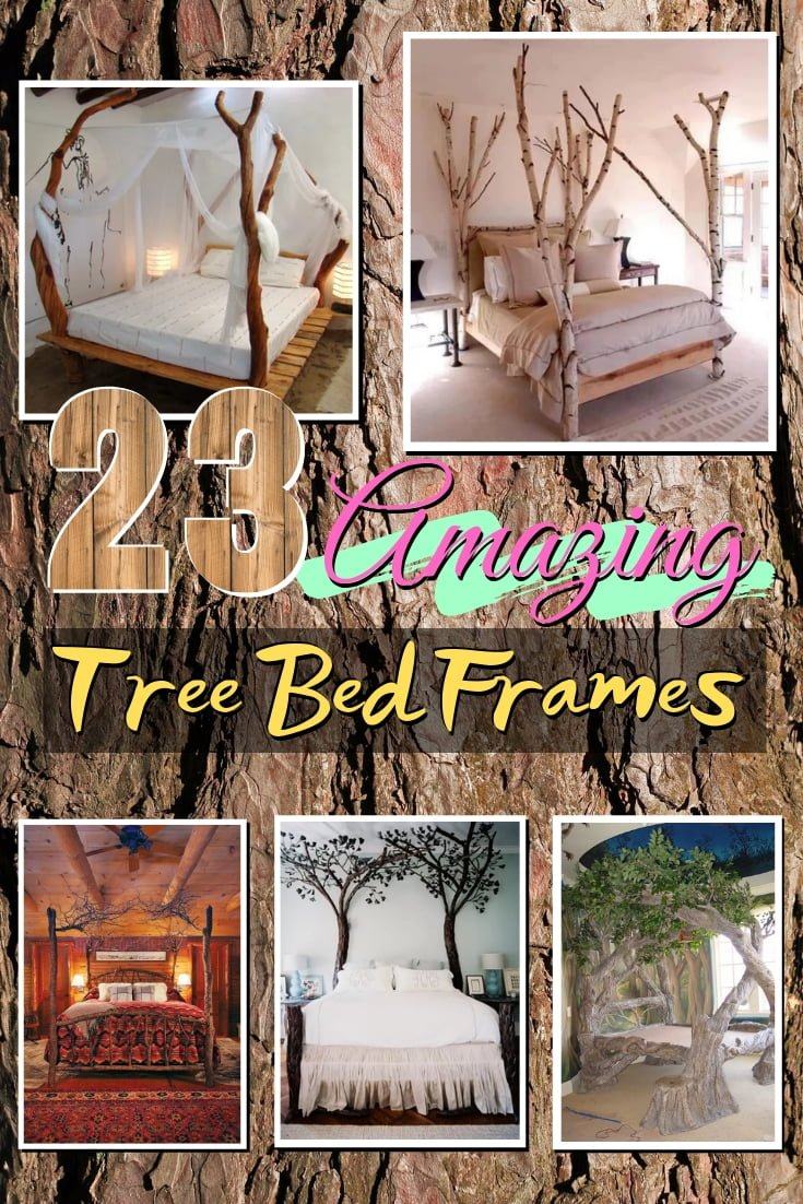 Bed frames made of trees look amazing. Talk about a dreamy fairy tale! This is a great list for inspiration #bedroomdecor #homedecor