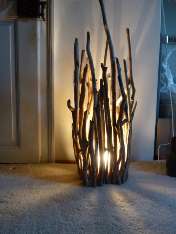 Check out this awesome rustic twig floor lamp