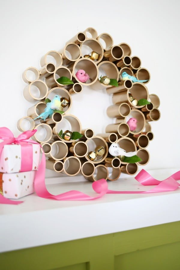 Try making this brilliant DIY PVC pipe Christmas wreath decoration