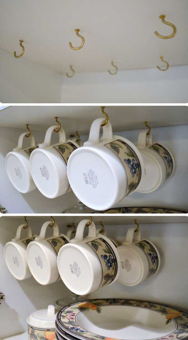 13 Brilliant DIY Mug Racks You'll Have Fun Making - Check out the tutorial for a DIY Under the Cabinet Mug Rack