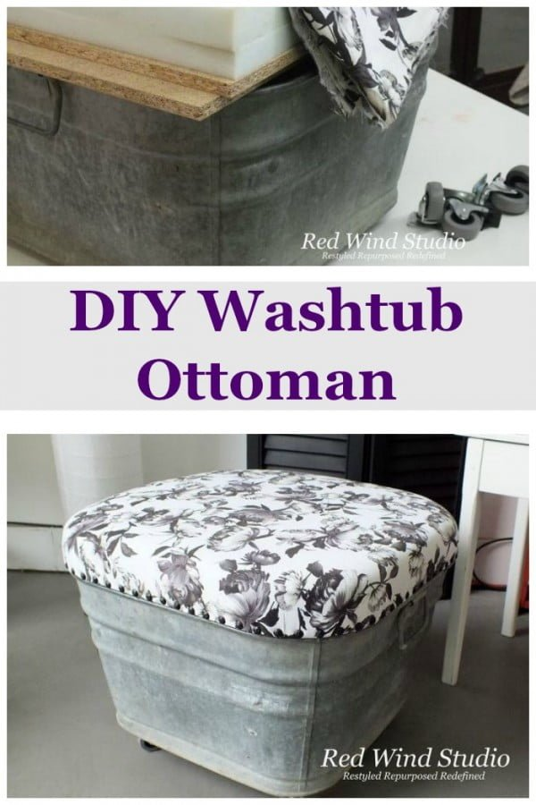 Check out how to make a DIY ottoman from a galvanized washtub