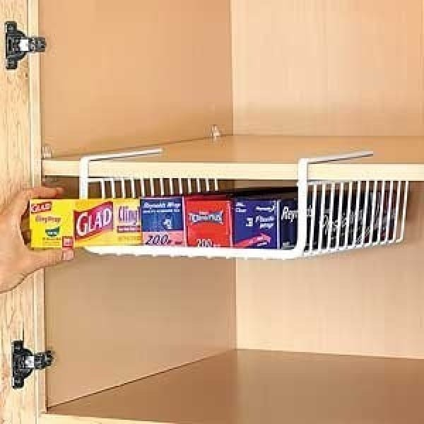 Nice idea for storage under the cabinet shelves