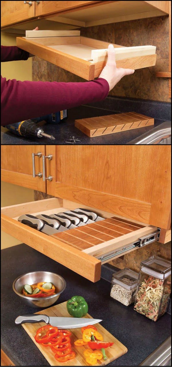 Great idea for under the cabinet storage drawer