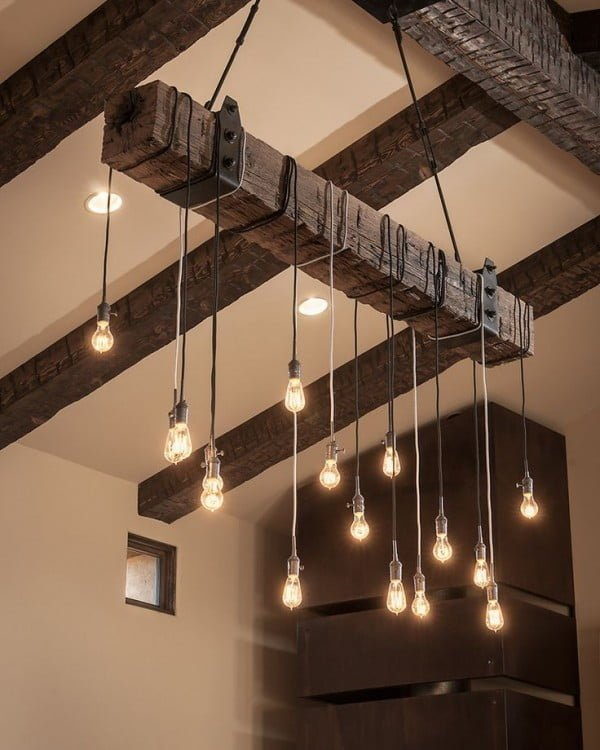 Check out this cool rustic wooden beam pendant light chandelier