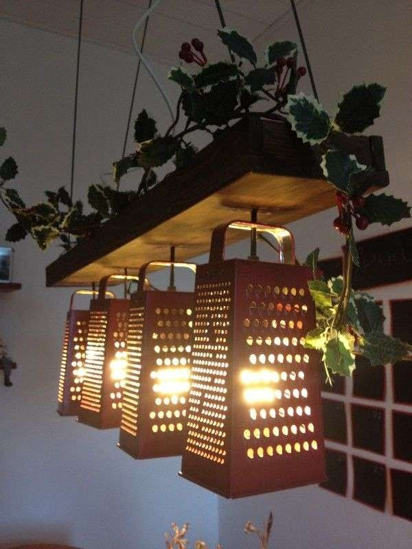 Check out these awesome rustic lamps made of upcycle graters