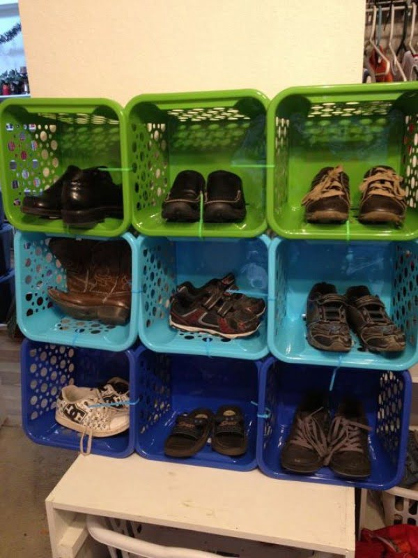 60+ Easy DIY Shoe Rack Ideas You Can Build on a Budget - Clever idea to use Dollar Store baskets for a shoe storage rack