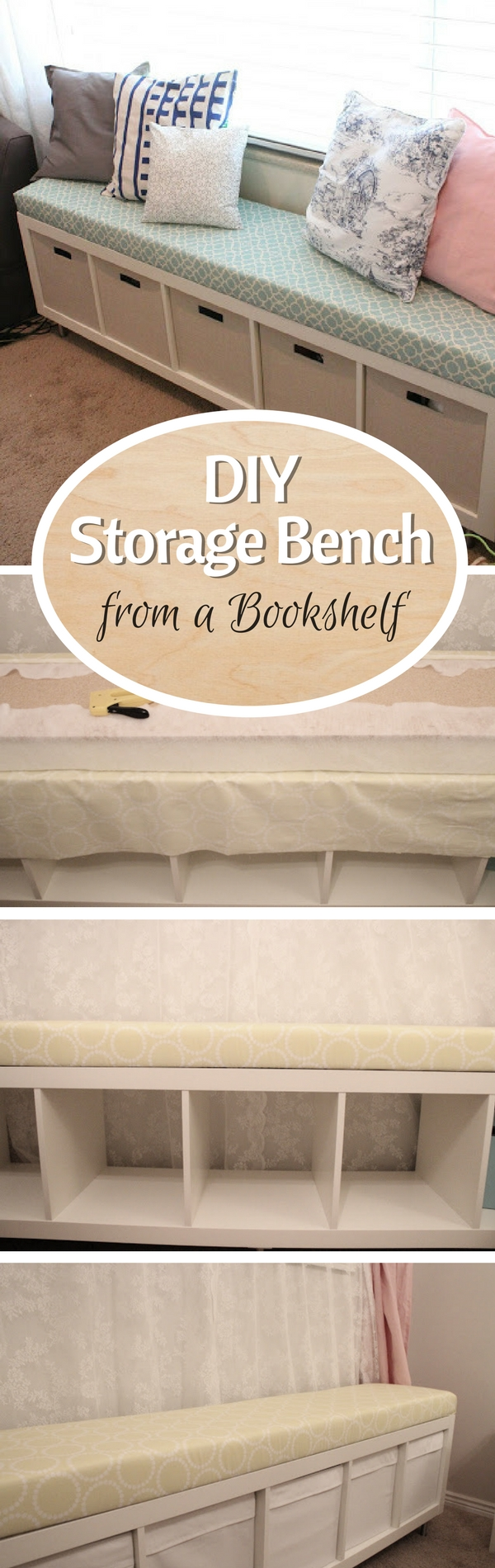 Check out how to turn a simple bookshelf into a DIY storage bench