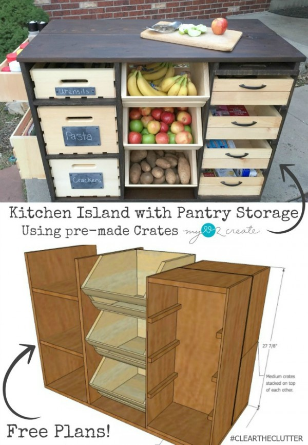 Check out how to build your own DIY kitchen island with pantry storage