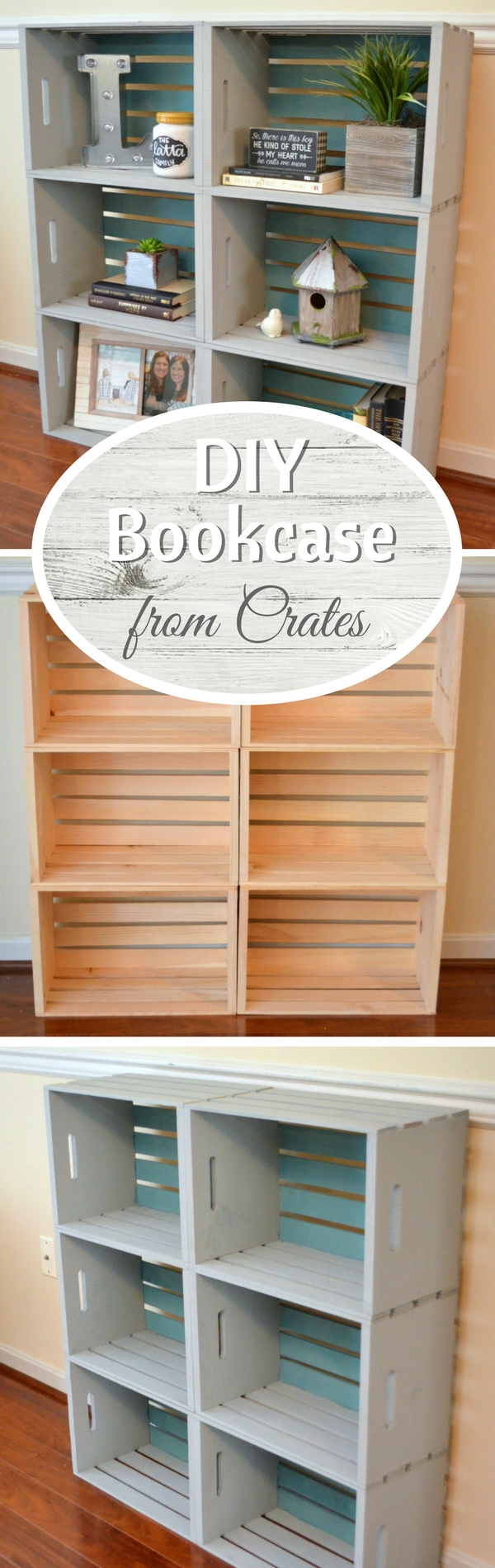 Check out how to build a very easy DIY bookshelf from wooden crates