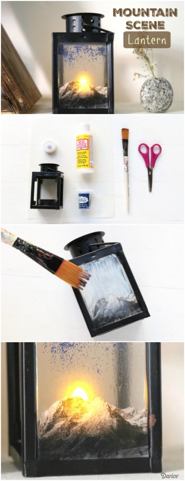 Check out how to make an easy DIY mountain scene lantern