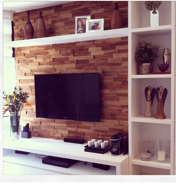 Love the rustic wood tile TV accent wall
