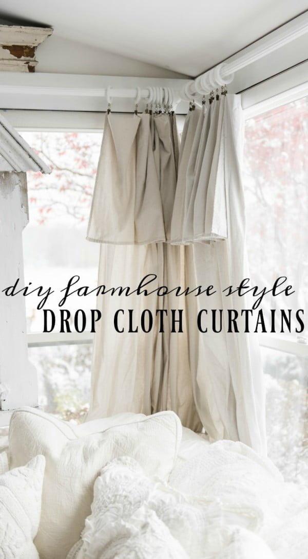 How to make DIY farmhouse style drop cloth curtains