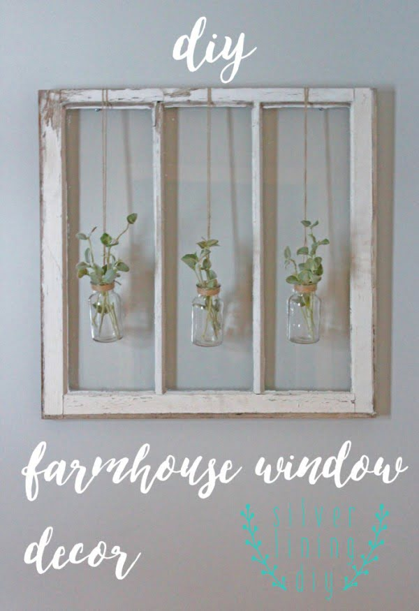 Check out how to create DIY farmhouse decor with an old window frame