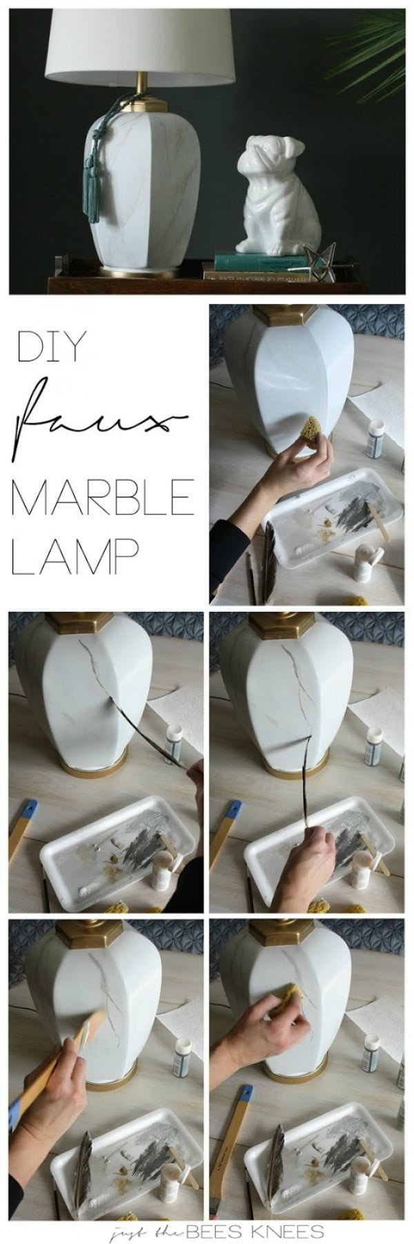 Check out how to make an easy DIY faux marble table lamp