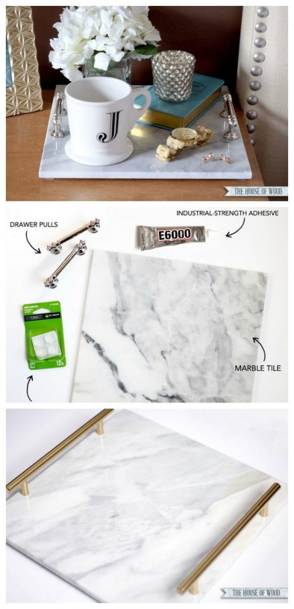 Check out how to make this easy DIY marble tray from a marble tile