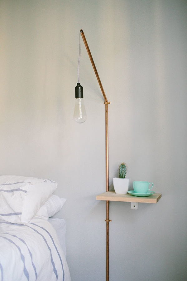 DIY Nightstand Shelf with a Copper Pipe Light