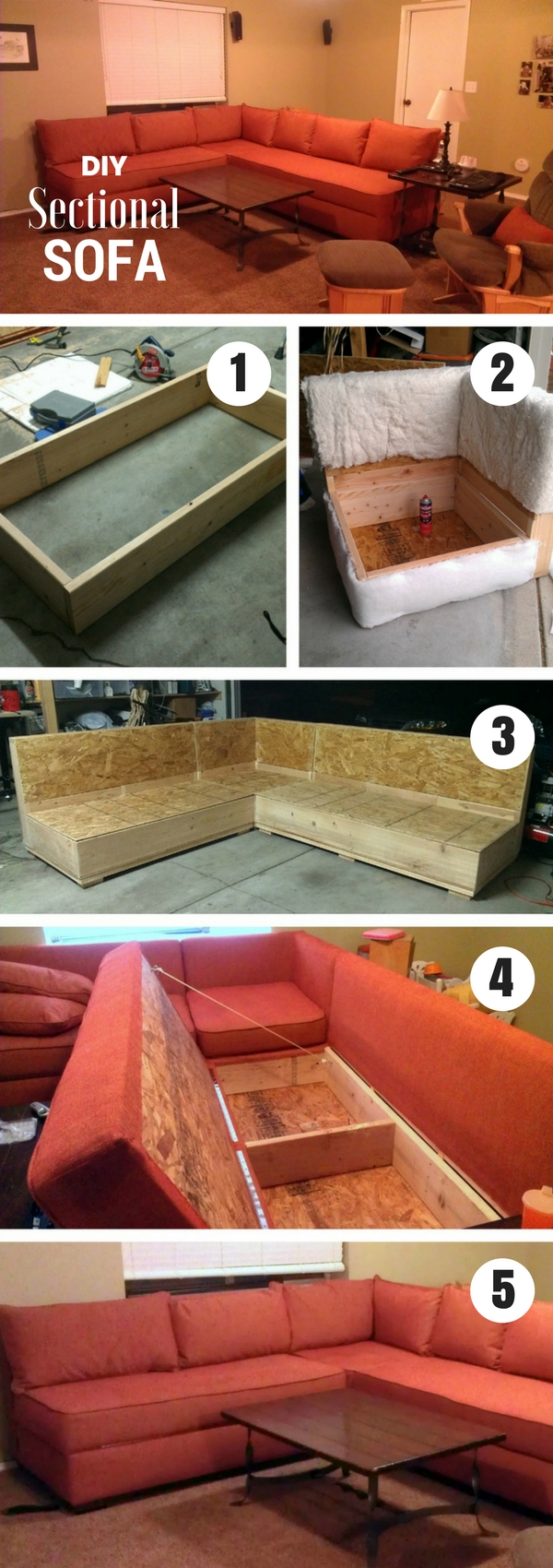 Check out how to build a DIY sectional sofa from plans from Ana White