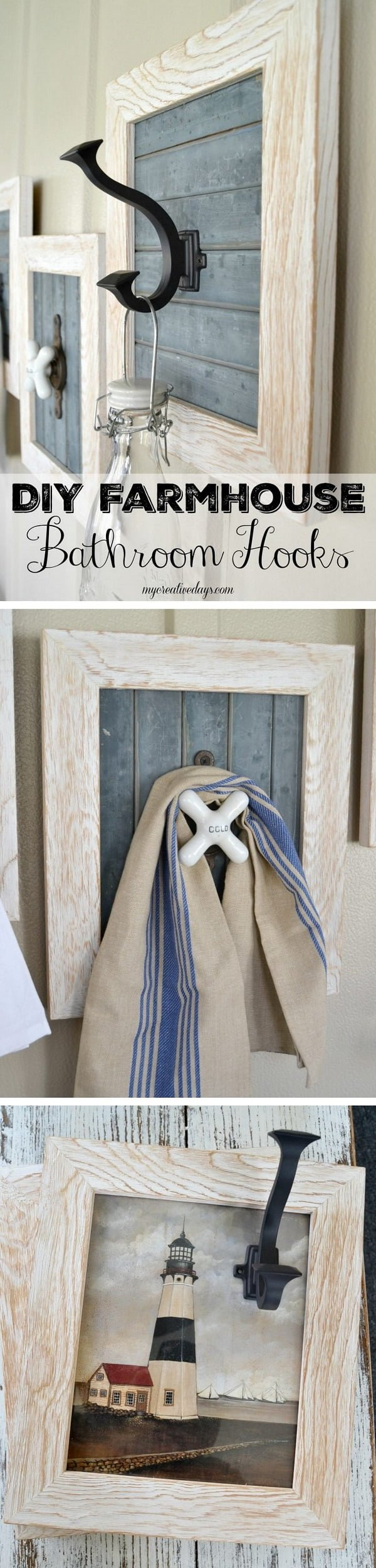 Check out how to make your own DIY farmhouse style bathroom hooks