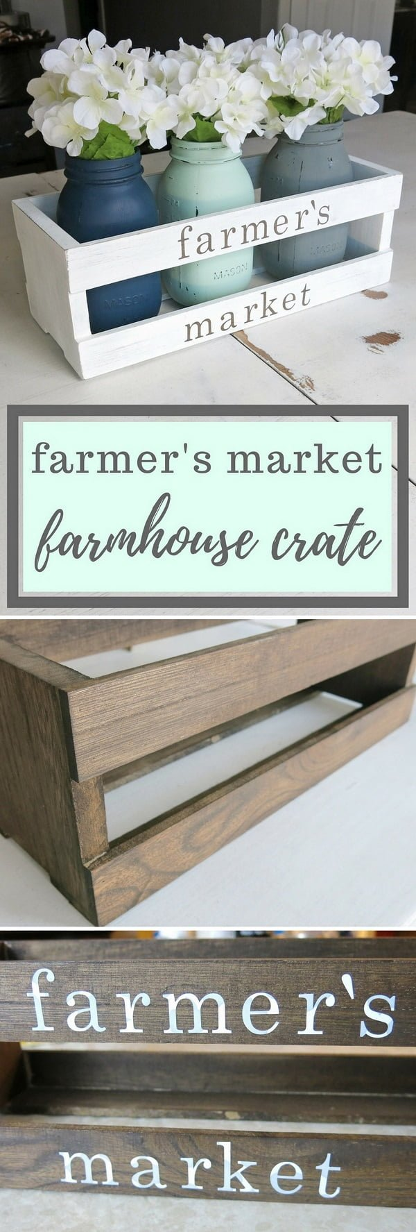 Check out the tutorial on how to make this #DIY #farmhouse crate centerpiece with #masonjars #homedecor #woodworking