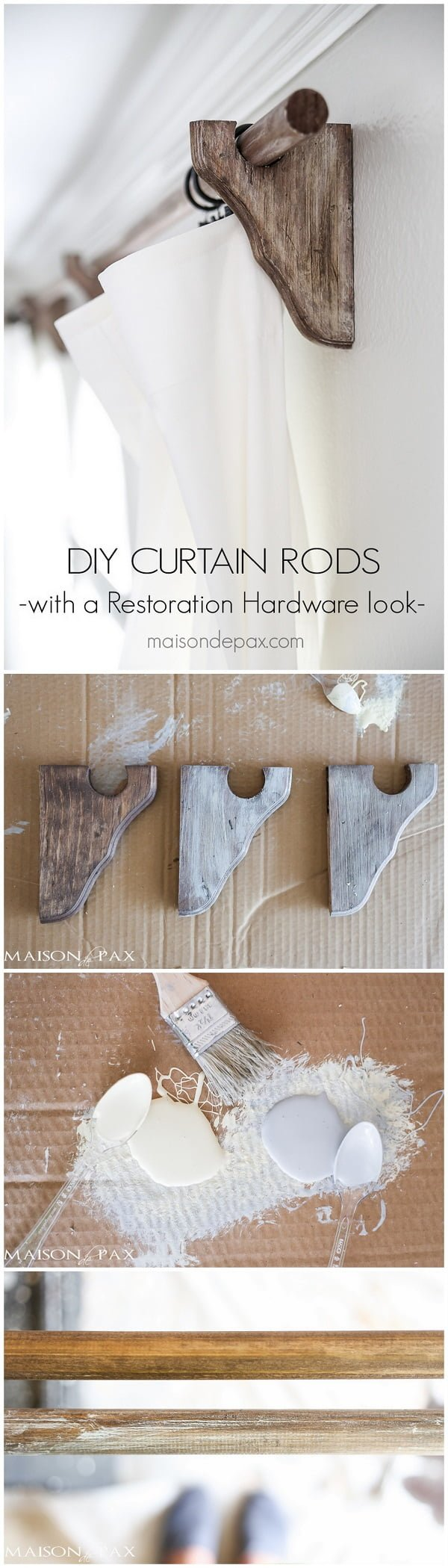 Check out how to make your own #DIY #farmhouse style curtain rods #woodworking #homedecor