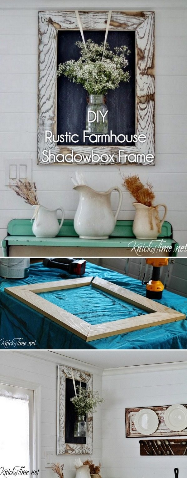 Check out how to make a rustic DIY shadowbox frame for farmhouse decor