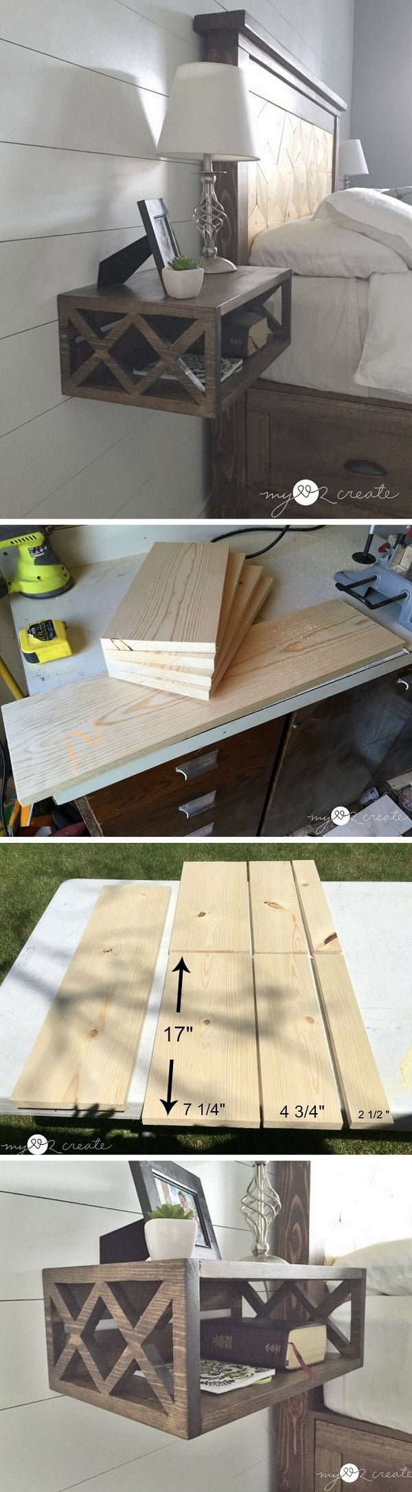 12 Easy DIY Nightstands That You Can Build on a Budget - Check out how to build an easy DIY floating nightstand from a single 1x8x8 board