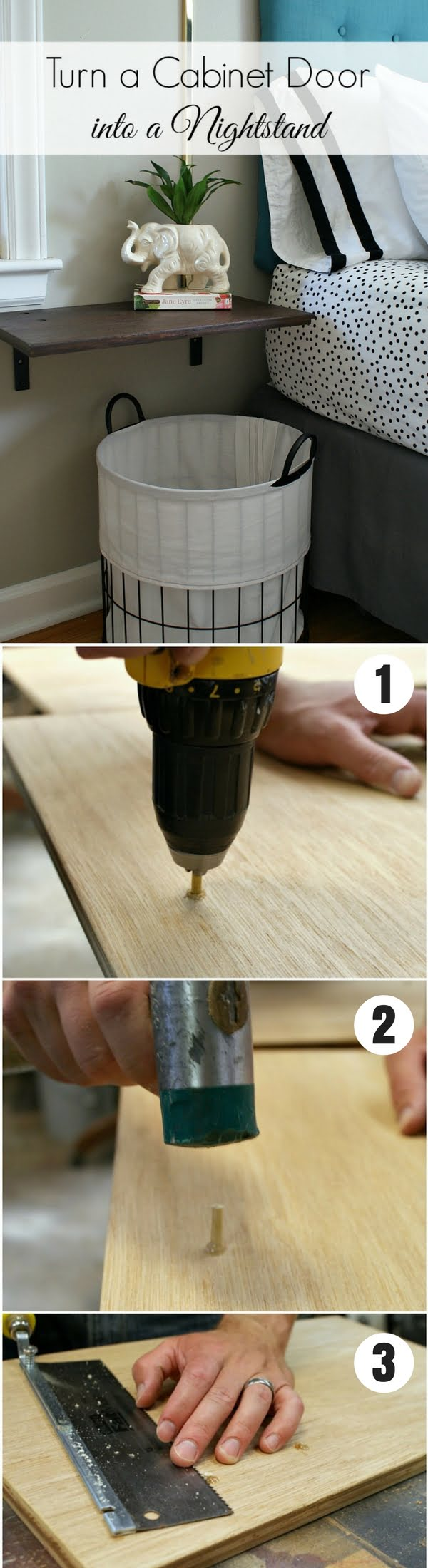 12 Easy DIY Nightstands That You Can Build on a Budget - Check out how to make this easy DIY floating nightstand from a cabinet door