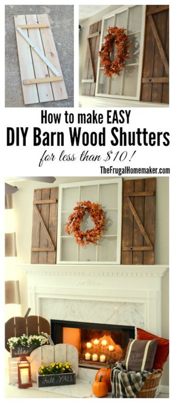Check out how to make DIY barn wood shutters for farmhouse decor