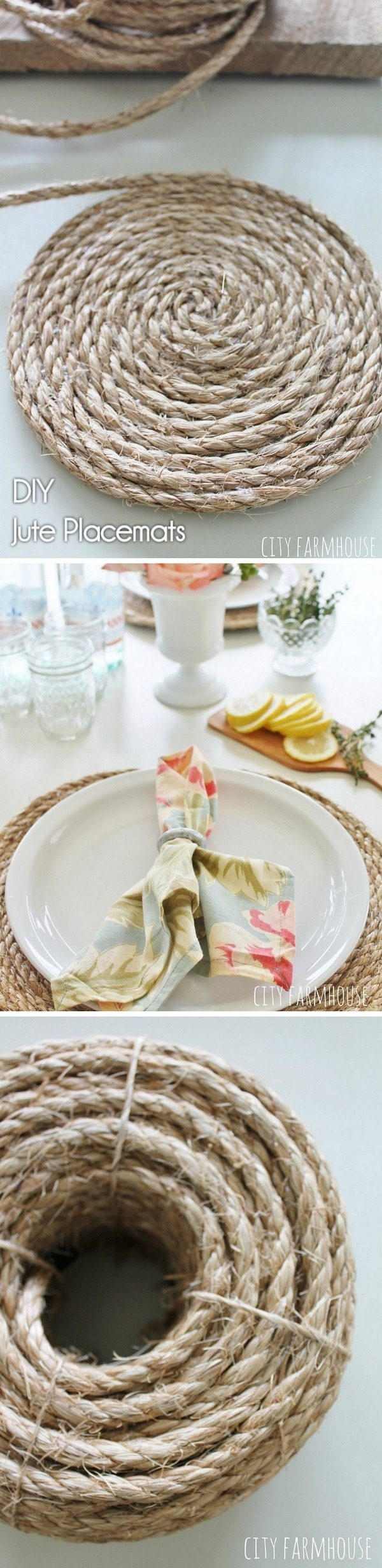 Check out how to make these #rustic #DIY jute placemats for #farmhouse #HomeDecorIdeas