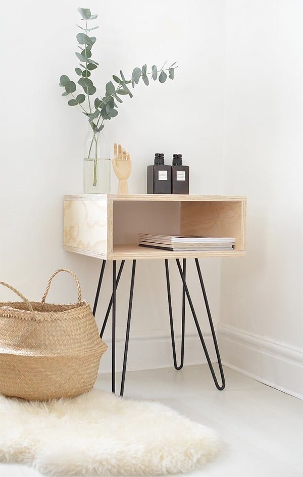 DIY Mid-century Nightstand with Hairpin Legs