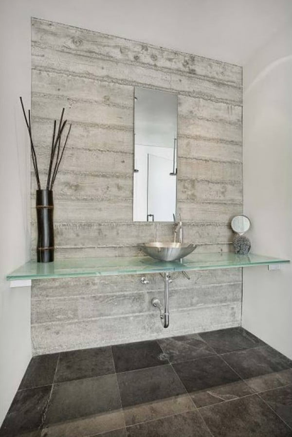 Love this shabby chic wood tile vanity look