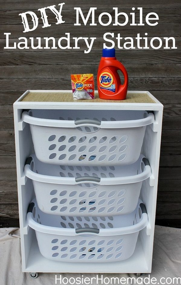 How to build a DIY mobile laundry station and organize your laundry easily