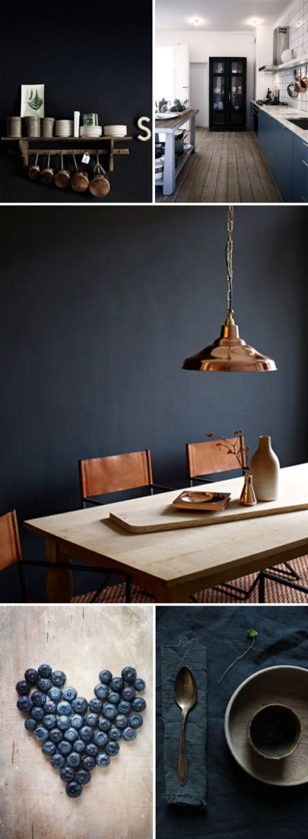 Love the navy blue decor with copper accents