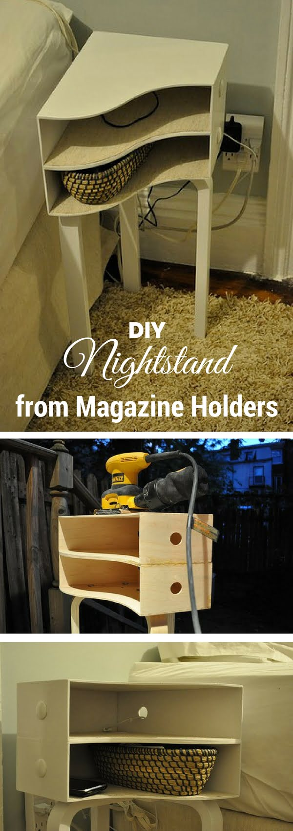 12 Easy DIY Nightstands That You Can Build on a Budget - Check out how to build an easy DIY nightstand from wooden magazine holders