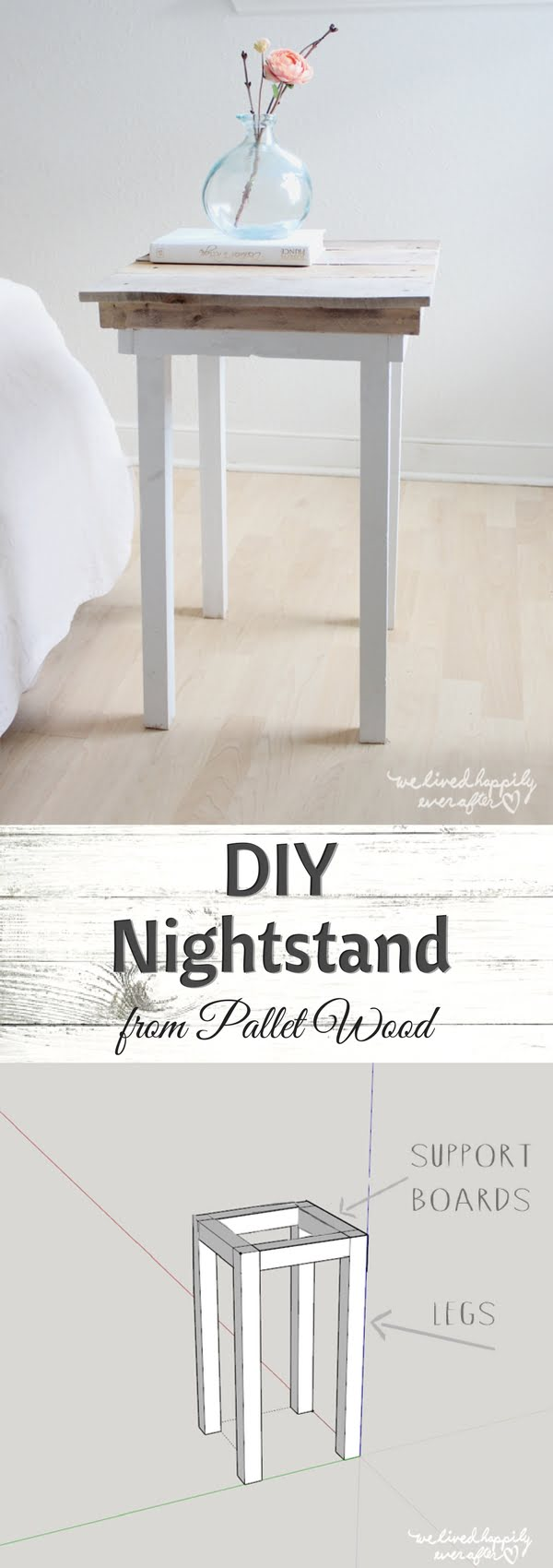 12 Easy DIY Nightstands That You Can Build on a Budget - Check out how to build this easy DIY nightstand from pallet wood