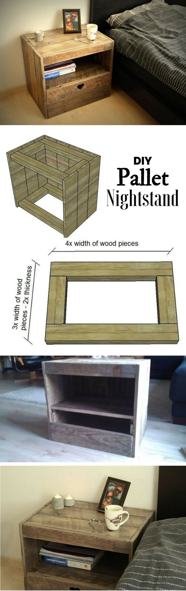 12 Easy DIY Nightstands That You Can Build on a Budget - Check out how to build an easy DIY pallet nightstand