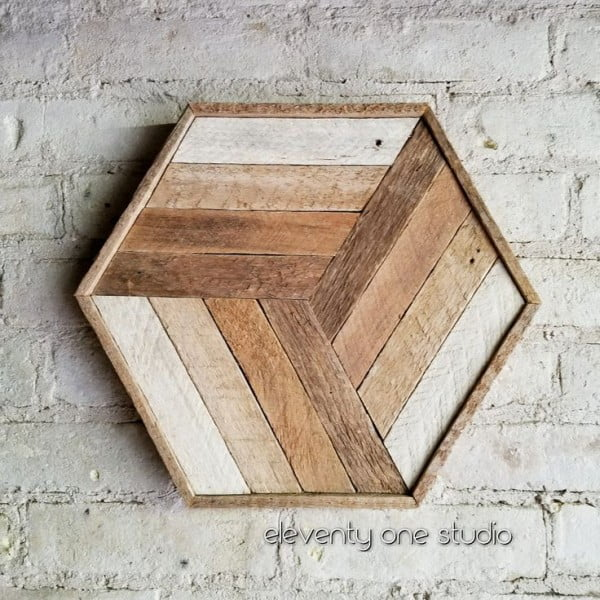 Lovely wall art of wood tile for a cozy rustic accent