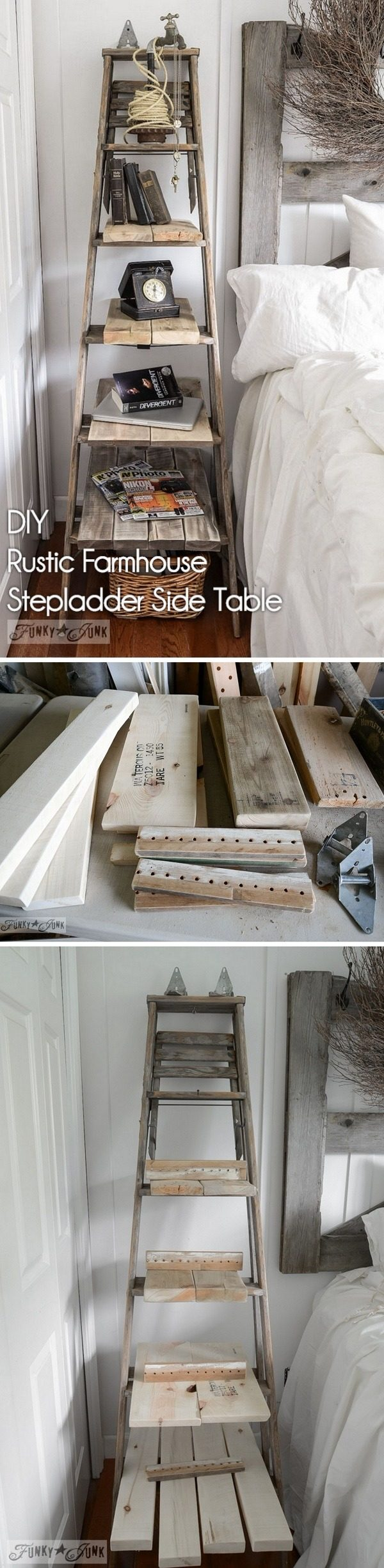 Check out how to make a #DIY rustic stepladder for #farmhouse style home decor #HomeDecorIdeas #RusticDecor #BedroomIdeas
