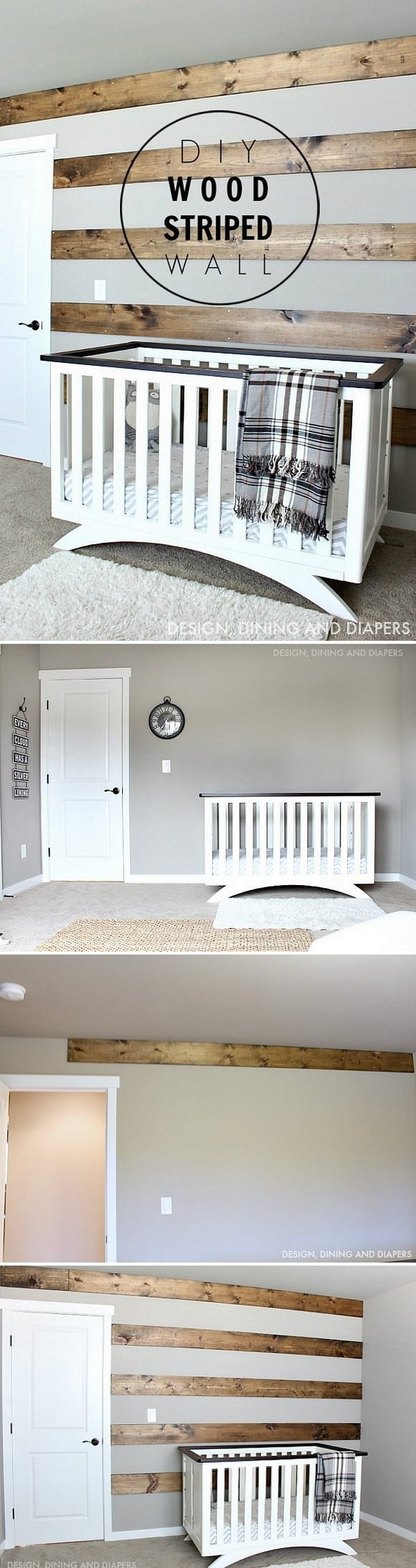 Check out how to make a DIY wood striped wall for farmhouse decor