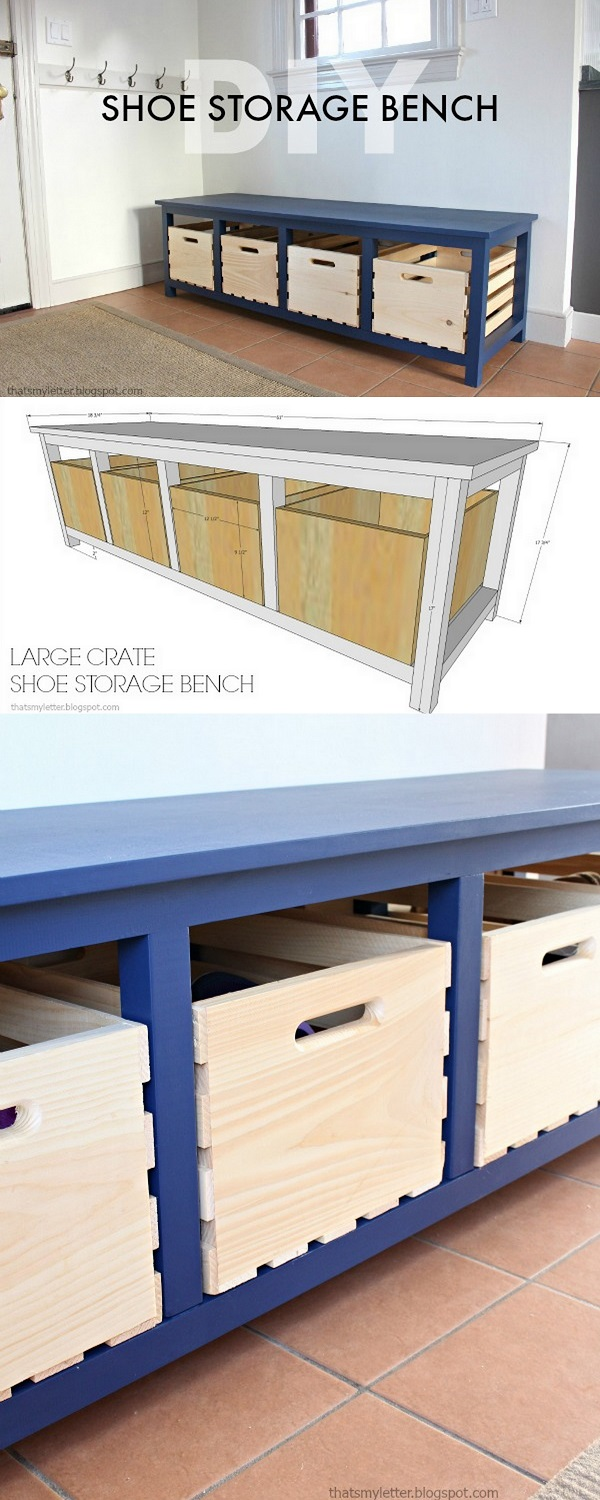 Check out how to make a great DIY storage bench from crates
