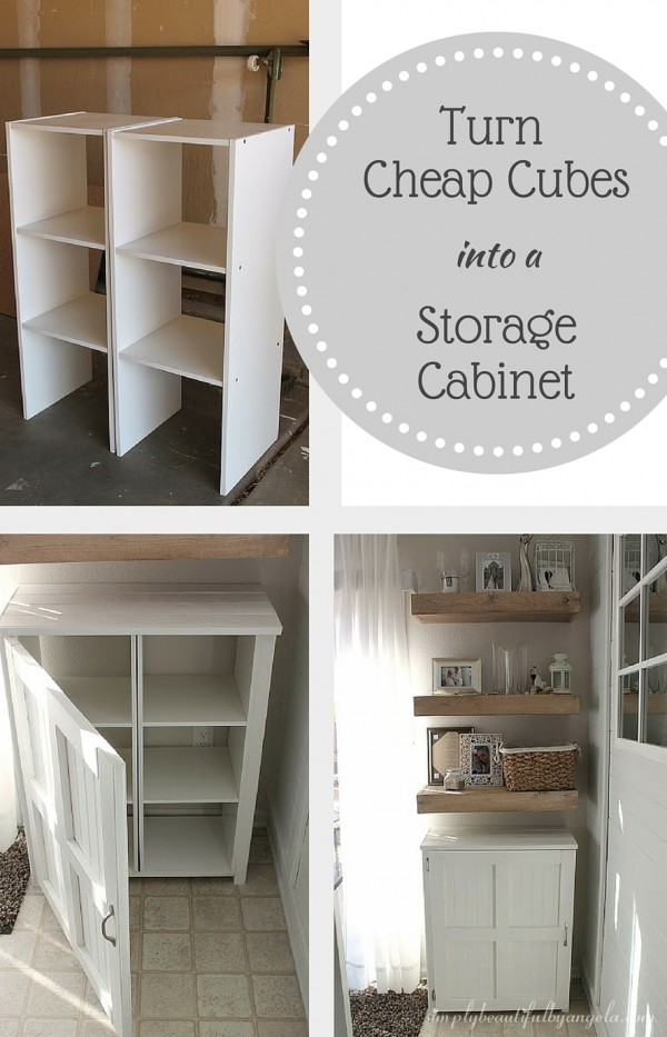 Check out how to build this DIY storage cabinet from cheap storage cubes