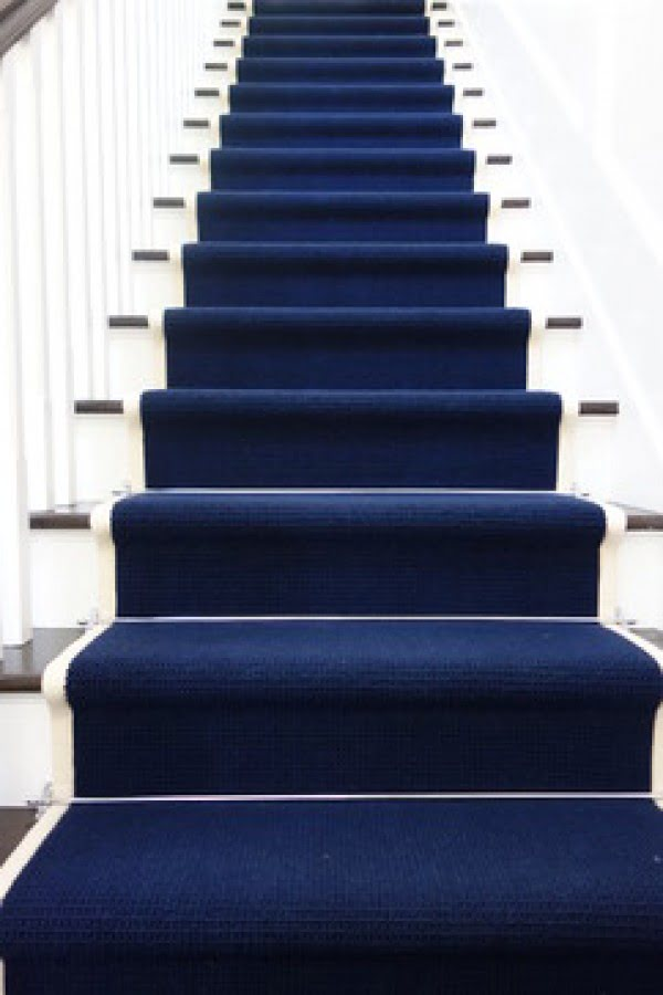 Love the deep blue staircase carpeting