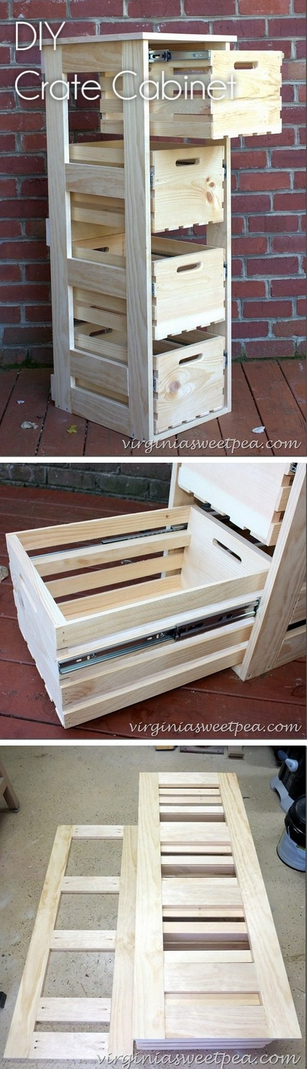 Check out how to build an easy #DIY crate cabinet with sliding drawers #rustic #HomeDecorIdeas