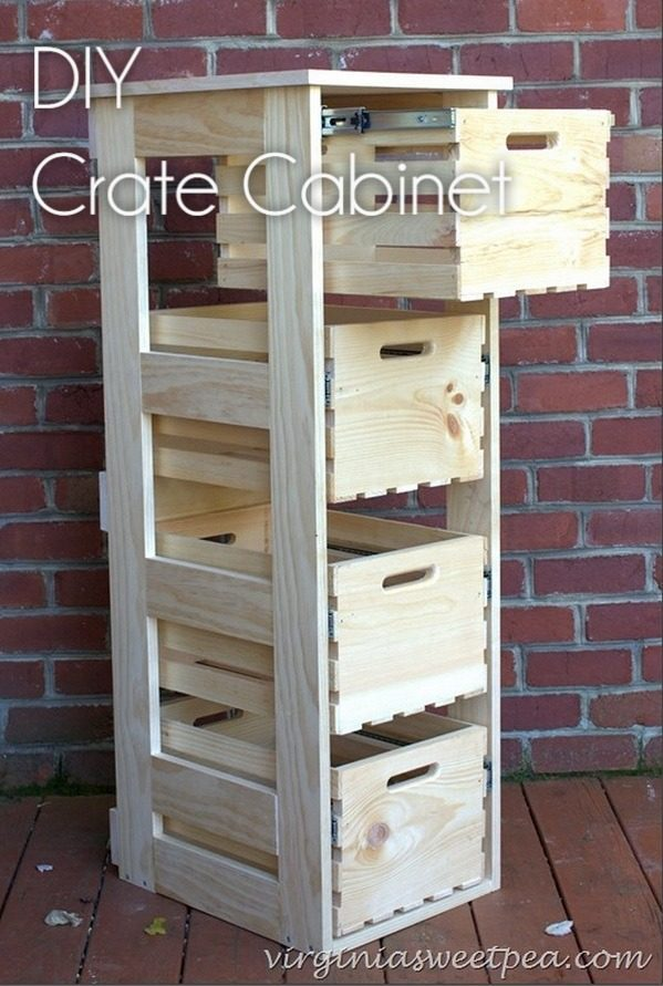 How to build an easy  crate cabinet with sliding drawers