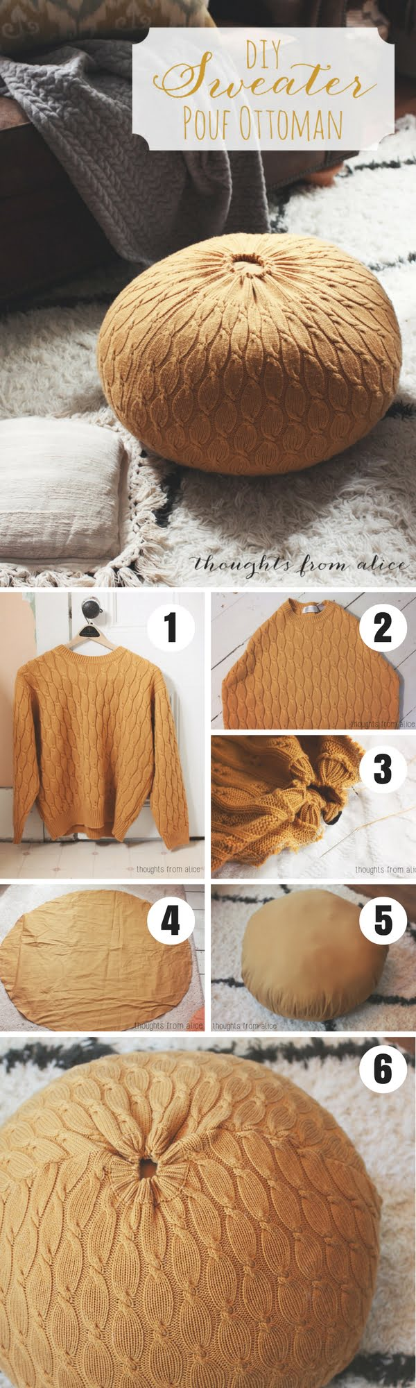 Check out how to turn an old sweater into a DIY pouf